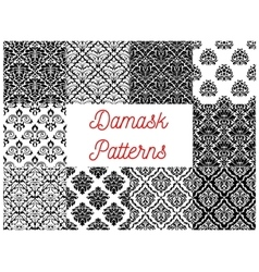 Black and white damask floral patterns set vector image