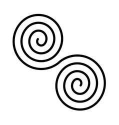 Black double spirals simple abstract ornamental vector