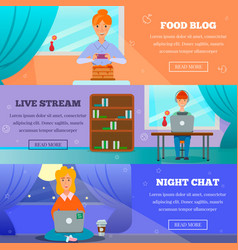 Bloggers characters topics flat banners vector