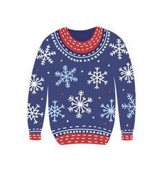 blue christmas cosiness ugly sweater with vector image