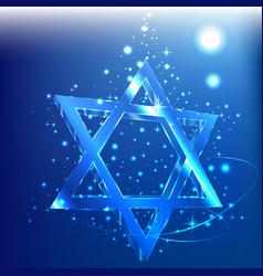 blue star of david glass jewish symbol abstract vector image