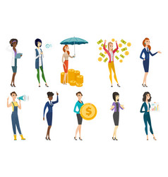 Business woman stewardess doctor profession set vector
