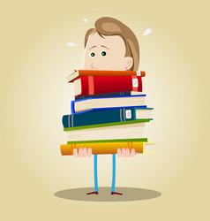 Busy librarian woman vector