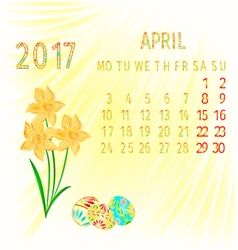 Calendar April 2017 Daffodils and Easter eggs vector