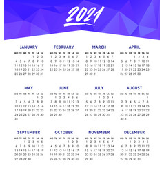 calendar for 2021 year isolated on white vector image