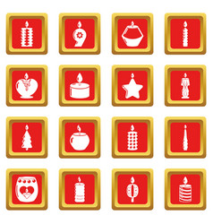 candle forms icons set red square vector image