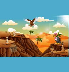 cartoon animal in the desert background vector image