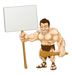 Caveman holding sign cartoon vector
