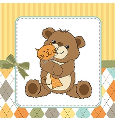 childish greeting card with teddy bear and his toy vector image