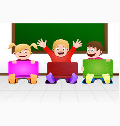 children with laptop in classroom vector image