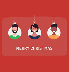 christmas balls with cute person character man vector image