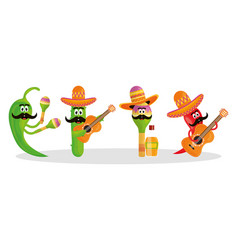 cinco de mayo celebration with group characters vector image