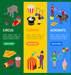 Circus amusement and attraction banner vecrtical vector
