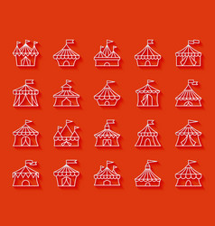 Circus tent simple paper cut icons set vector