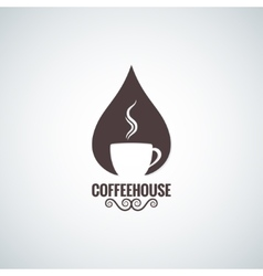coffee cup drop logo background vector image