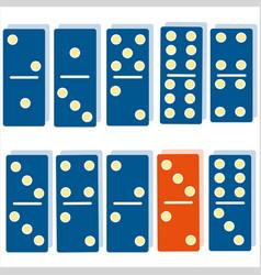 color dominoes blue dominoes orange dominoes vector image