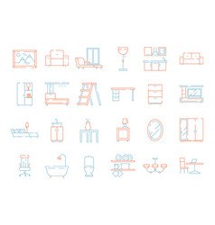 colored furniture icon room interior items chair vector image