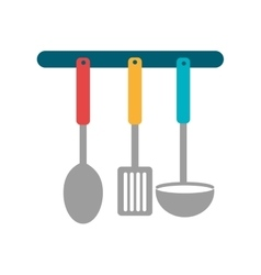 Colorful kitchen spoond and fork set vector