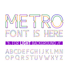 colorful metro styled font for light background vector image