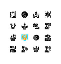 Core values black glyph icons set on white space vector