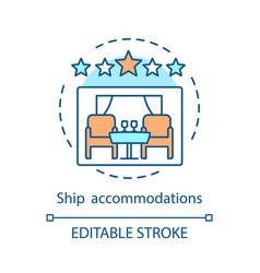 Cruise ship accommodations concept icon vector