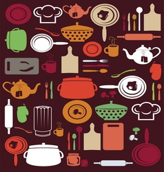 Cute kitchen pattern vector image