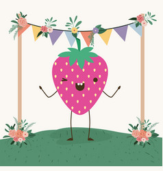 Cute strawberry in landscape kawaii character vector