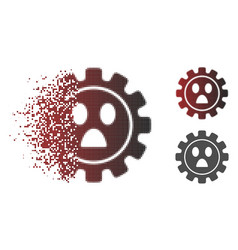Disappearing dot halftone gear wonder smiley icon vector