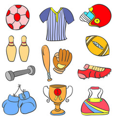 doodle of colorful sport equipment vector image