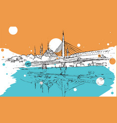 drawing sketch metro bridge in istanbul vector image