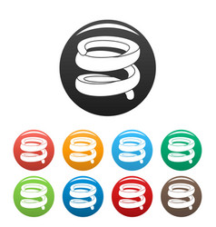 Elastic coil icons set color vector