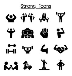 Fitness strong icon set vector