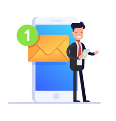 Flat email notificztion concept businessman or vector