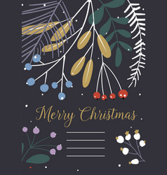 floral christmas invitations happy new vector image