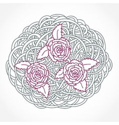 Floral rose round composition vector