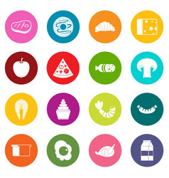 Food icons many colors set vector