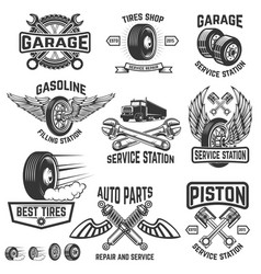 Garage service station auto parts store filling vector