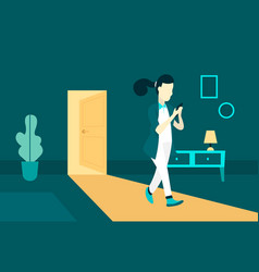Girl comes home in evening vector