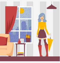 girl with umbrella in apartment vector image