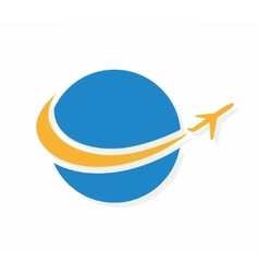 Globe and airplane logo or icon vector