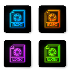 glowing neon raw file document icon download raw vector image