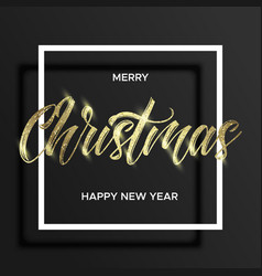 gold lettering christmas in square frame vector image