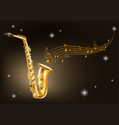 golden saxophone on black background vector image