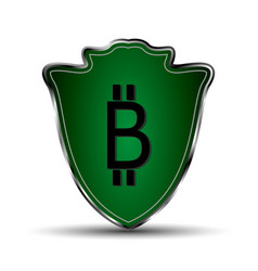 Green shield with bitcoin symbol vector