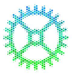 halftone blue-green clock gear icon vector image