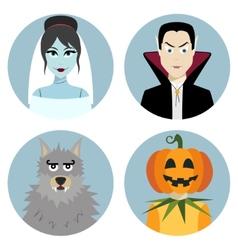 Halloween character set Vampire werewolf dead vector