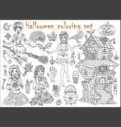 Halloween coloring set with beautiful witch girls vector