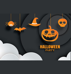 halloween orange paper hanging in dark background vector image