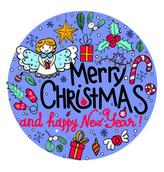 hand-drawn round frame with christmas elements vector image