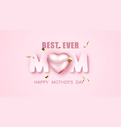 happy mothers day banner design with 3d metallic vector image